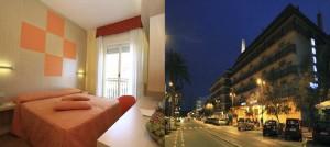 Camera e vista notturna hotel lungomare Pescara